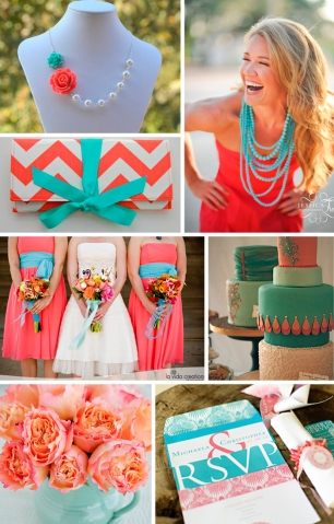 coral+turquoise