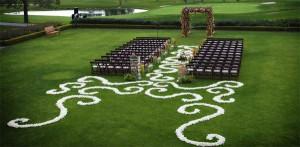 Wedding aisle florals