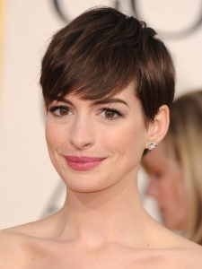 For a short style, try this Anne Hathaway. It conveys grace, class and romance. To learn how to get this look, check out allure.com.