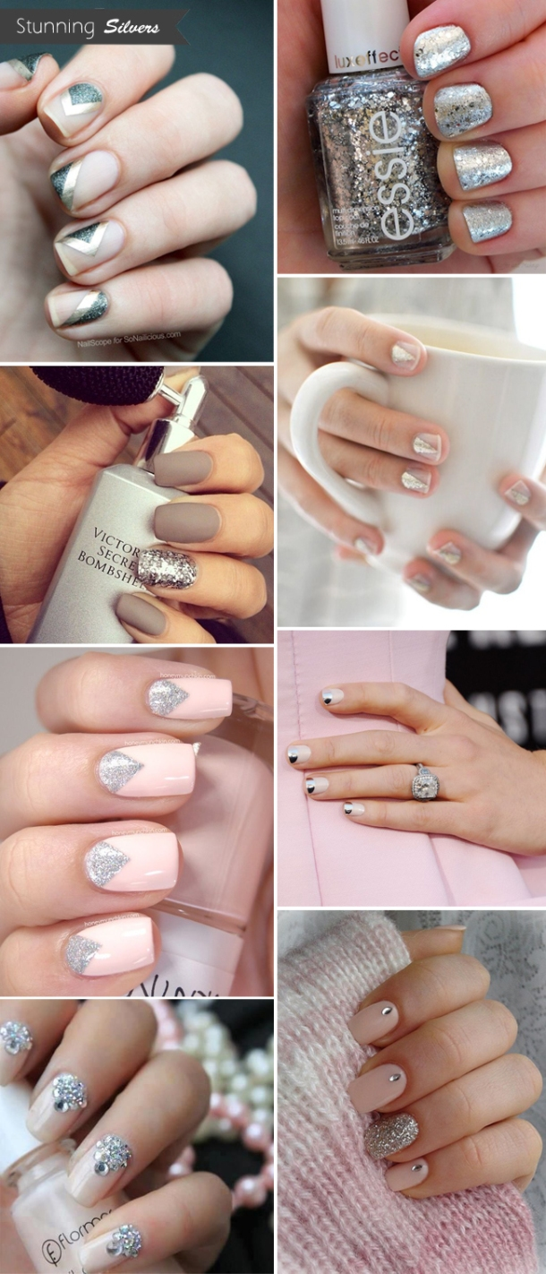 silver-sparkly-wedding-nails