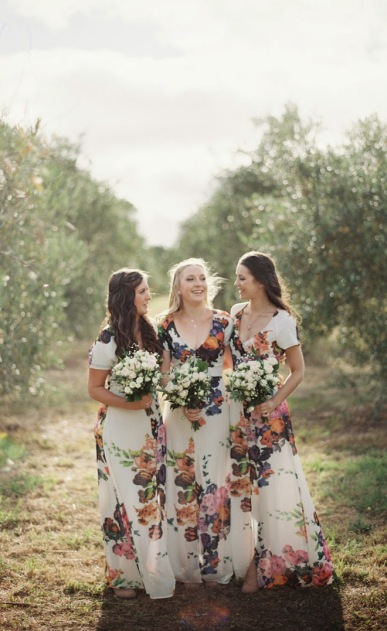 floral-bridesmaid-dresses-for-spring-2015-weddings