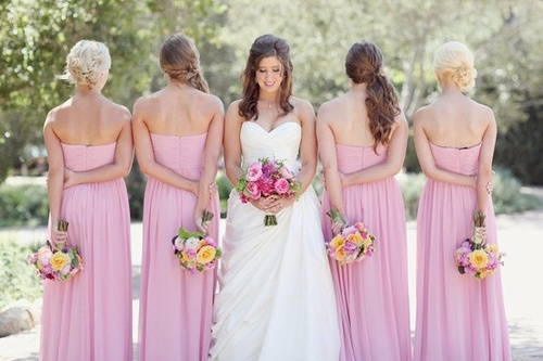 spring-pink-strapless-bridesmaid-dresses